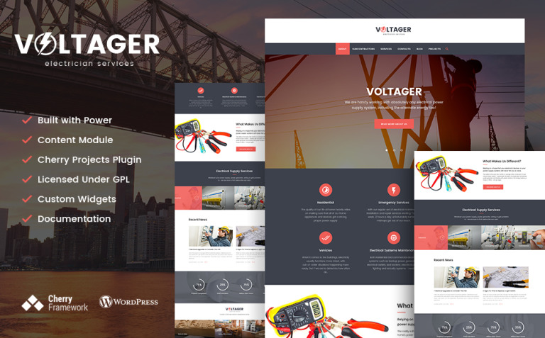 Voltager - Electricity & Electrician Services WordPress Theme New Screenshots BIG