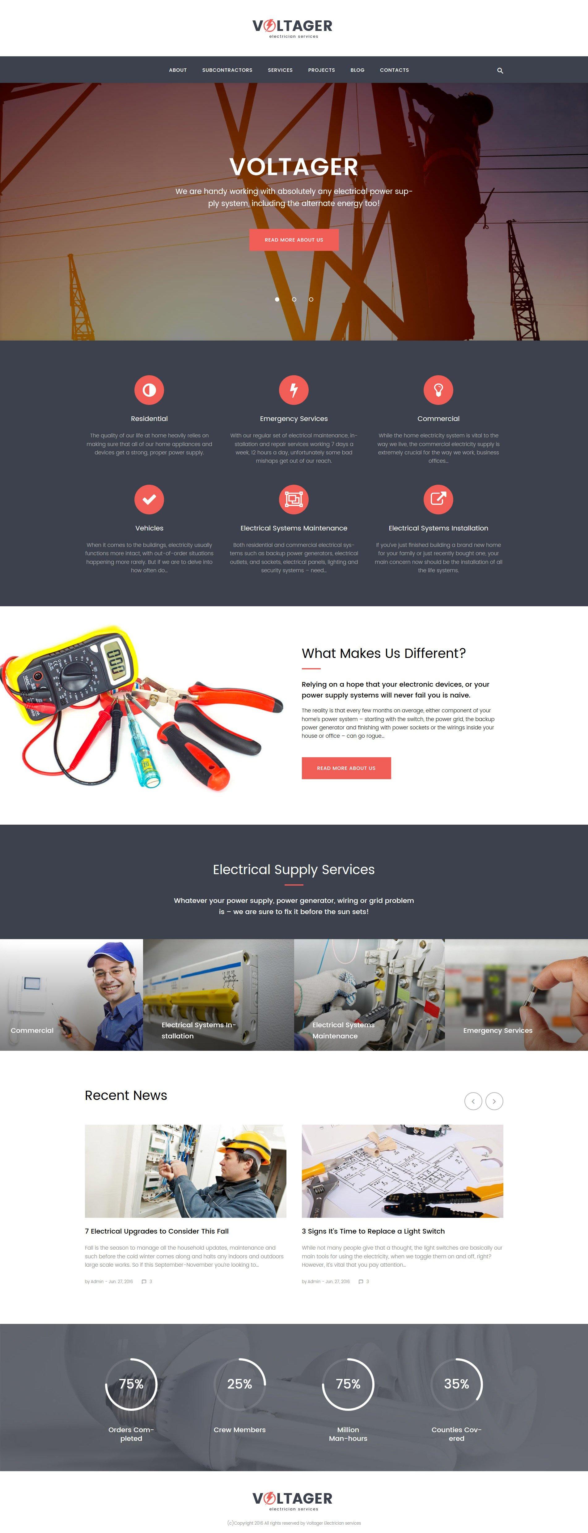 Шаблон Voltager сайта на тему электричество #58892