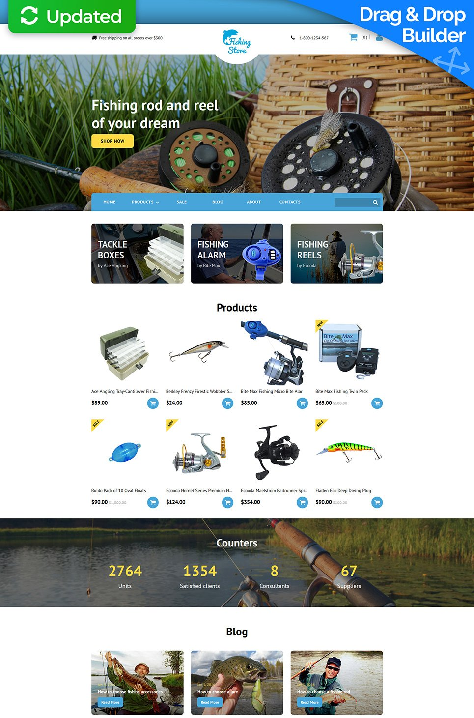 Fishing Store Responsive Ecommerce Website Template - image