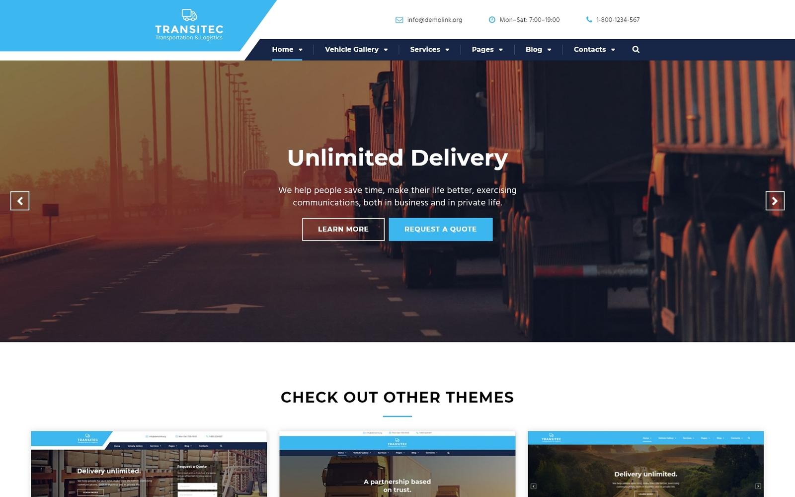 Адаптивний Шаблон сайту на тему транспортна компанія №58977