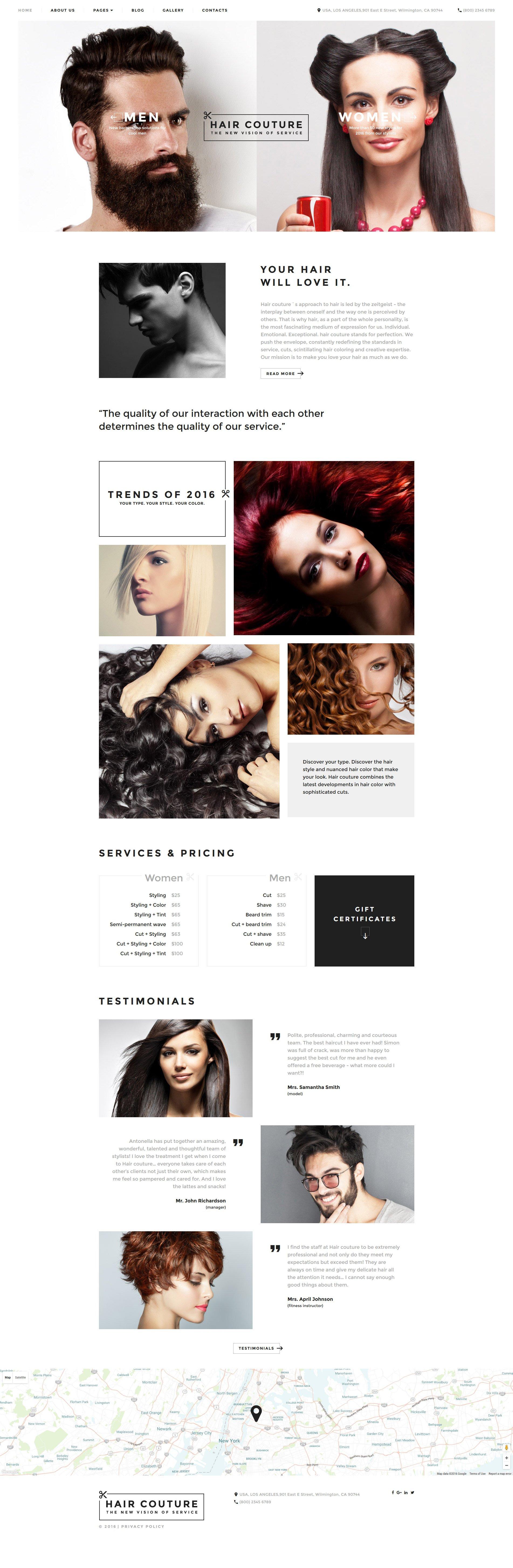 Адаптивный Joomla шаблон №58954 на тему парикмахерская
