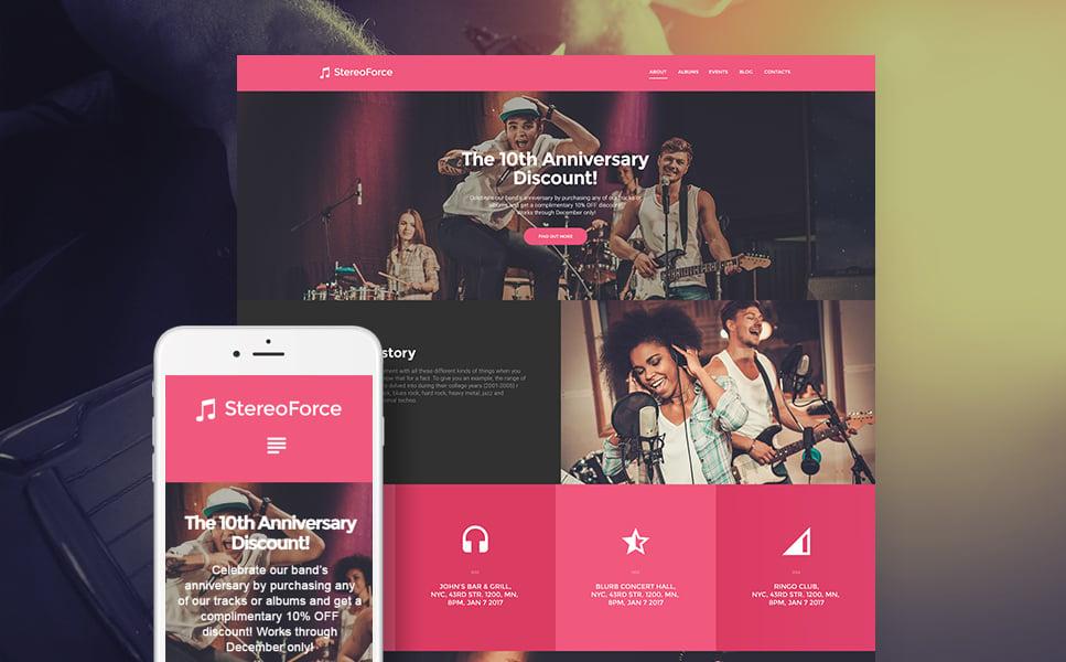 Адаптивный шаблон сайта на тему музыкальная группа #58988