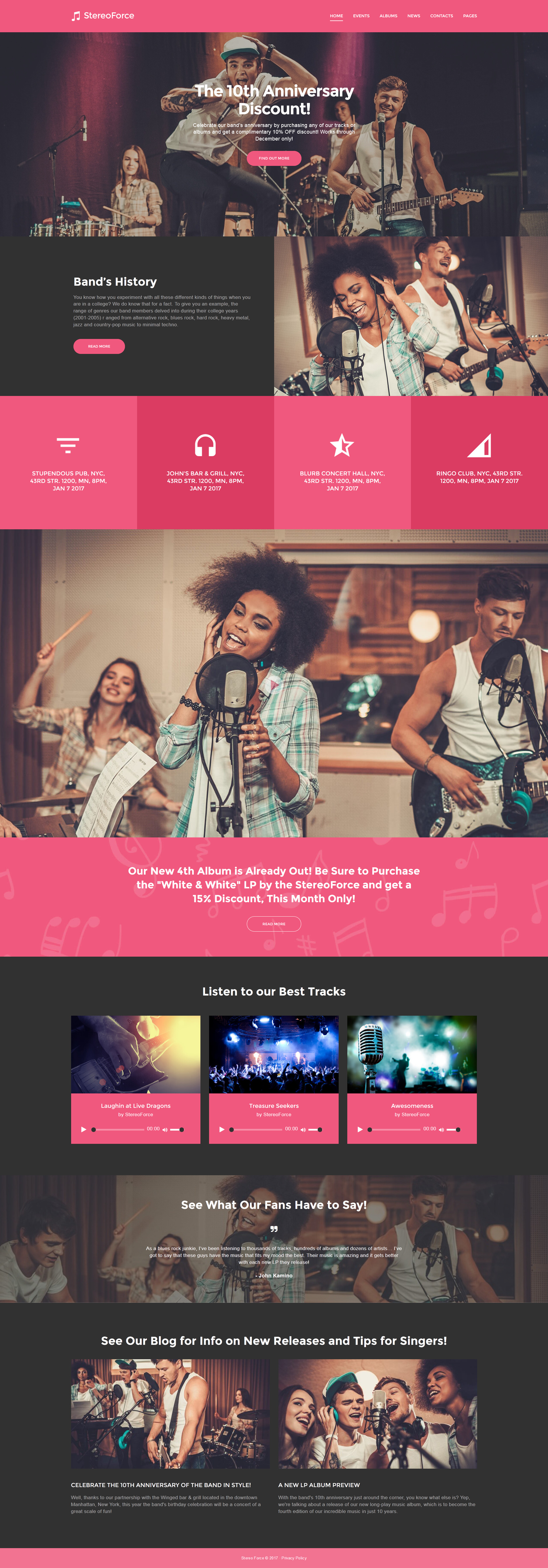 Адаптивный WordPress шаблон №58988 на тему музыкальная группа - скриншот