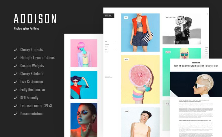 Addison - Creative Photographer Portfolio WordPress Theme