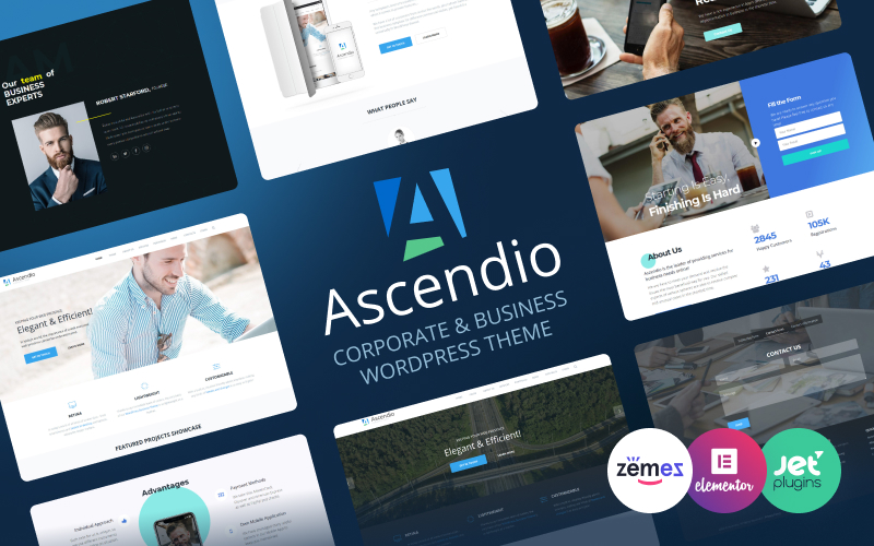 """Ascendio - Corporate & Business"" Responsive WordPress thema №58924"