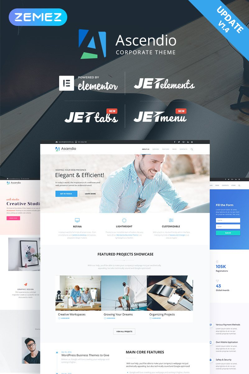 Ascendio - Corporate & Business WordPress Theme New Screenshots BIG
