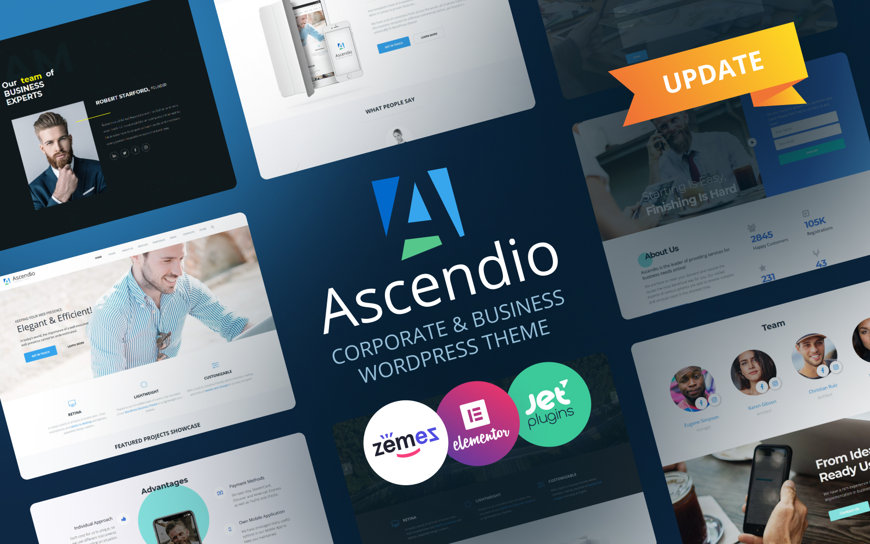 Ascendio - Corporate & Business WordPress Theme Tema WordPress №58924