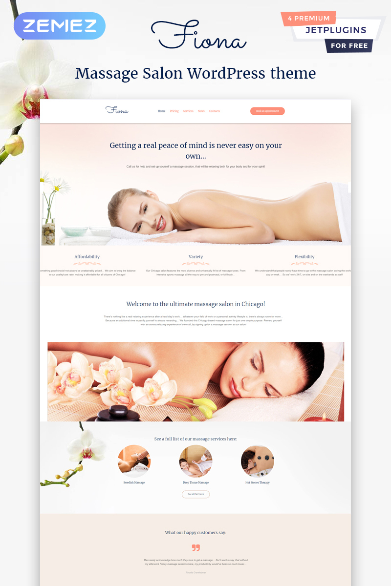 Beauty Spa & Massage Salon Responsive Tema WordPress №58989