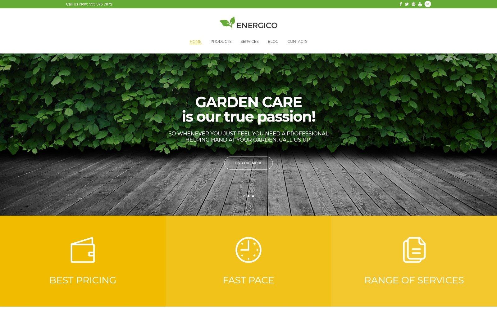 """Energico - Agriculture & Garden Care Responsive WordPress Theme"" - адаптивний WordPress шаблон №58976"