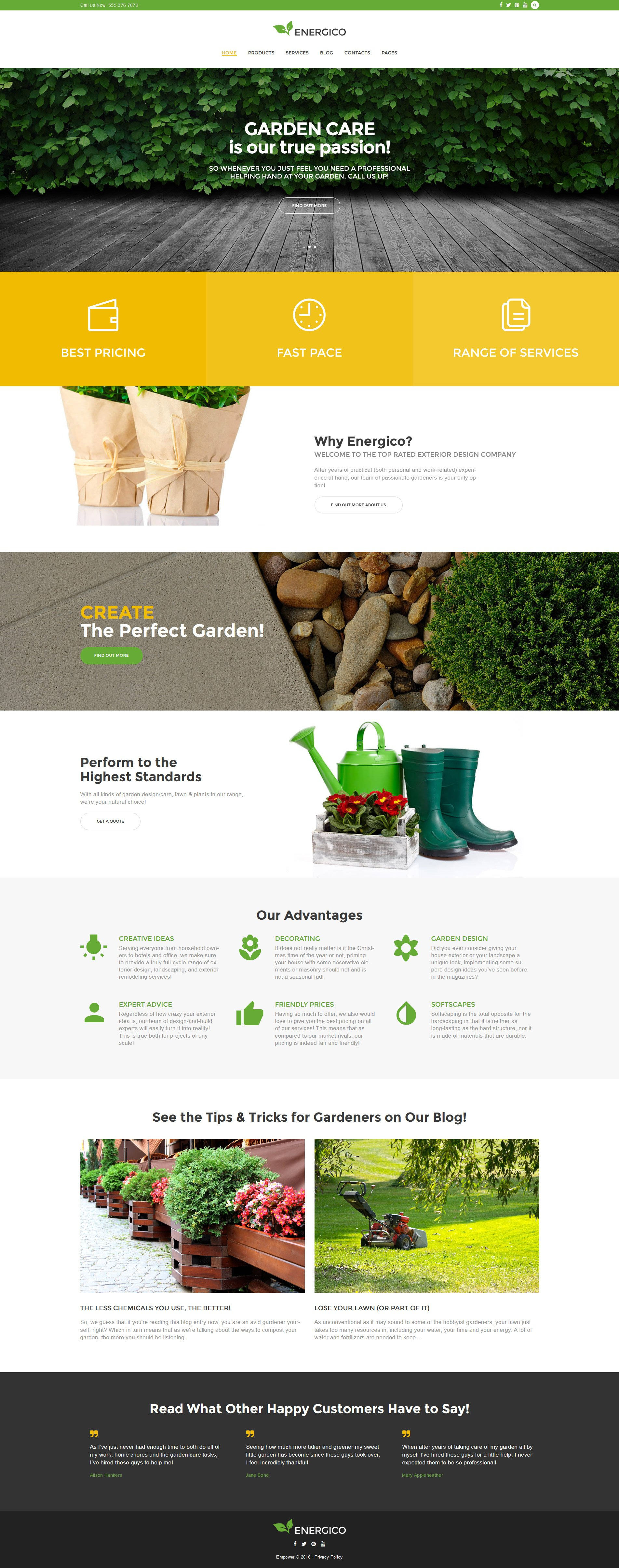 """Energico - Agriculture et entretien de jardin"" thème WordPress adaptatif #58976"