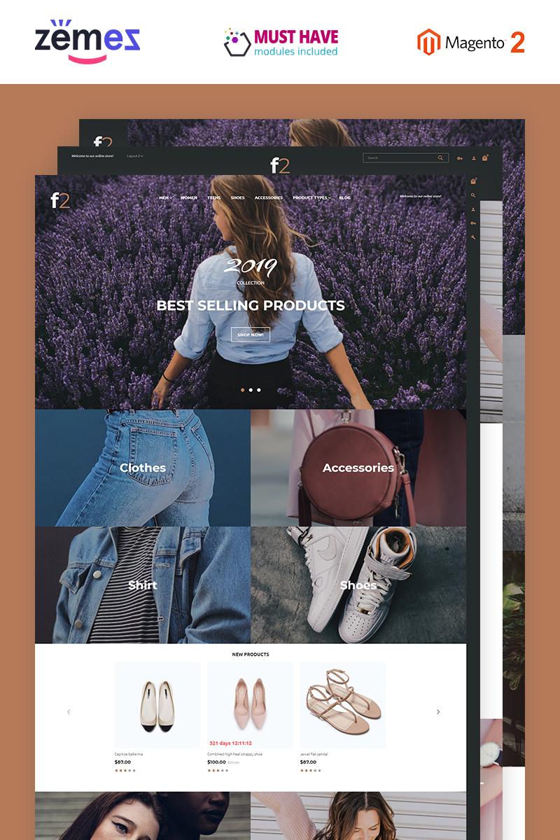 """""""F2 - Boutique de mode"""" thème Magento adaptatif #58948"""