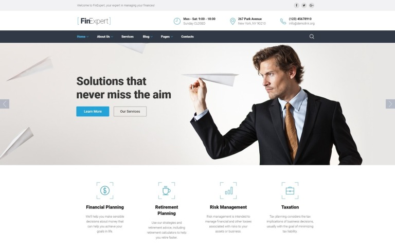 business financial advisor website template, Presentation templates