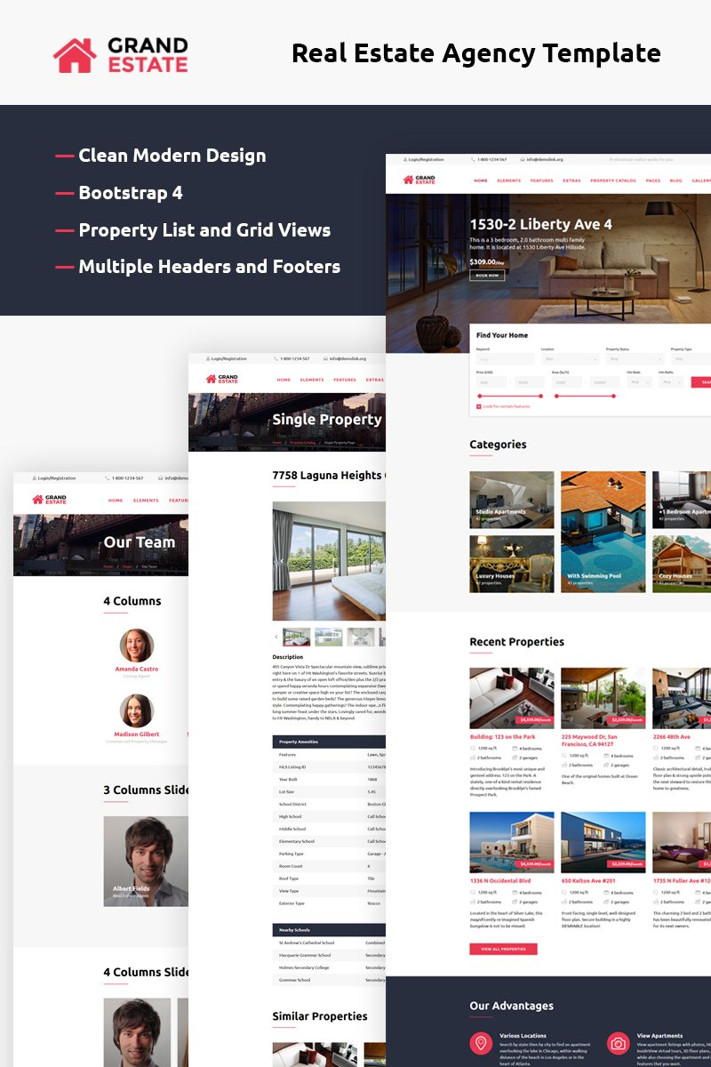 """Grand Estate"" Responsive Website template №58944"