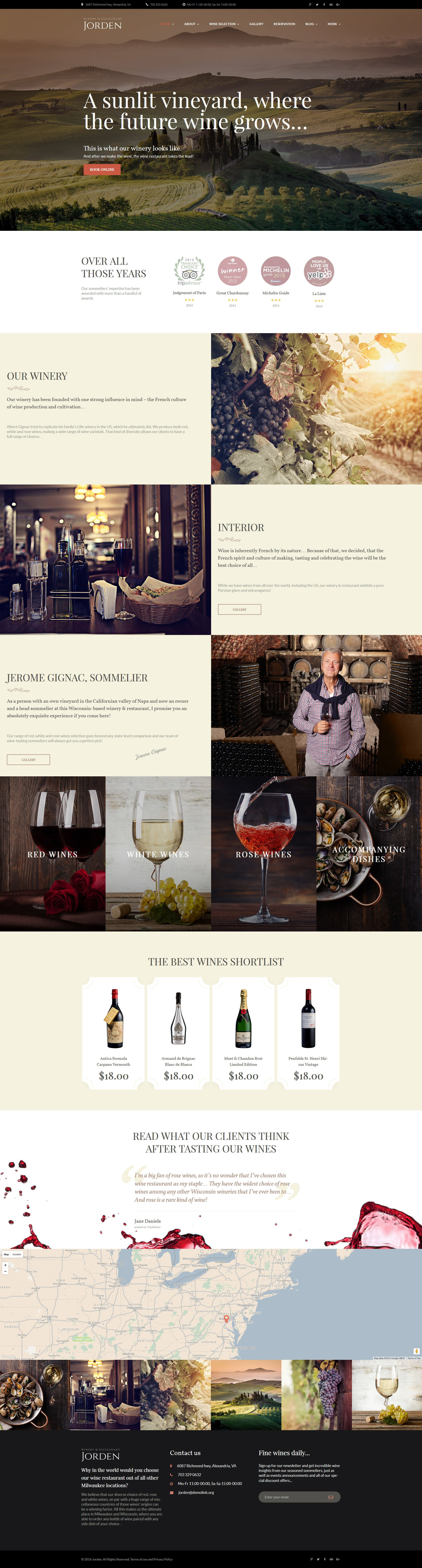 """Jorden - Vin & Vignoble"" thème WordPress adaptatif #58992"
