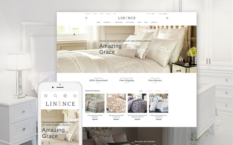 Linence - Bed Linen PrestaShop Theme New Screenshots BIG