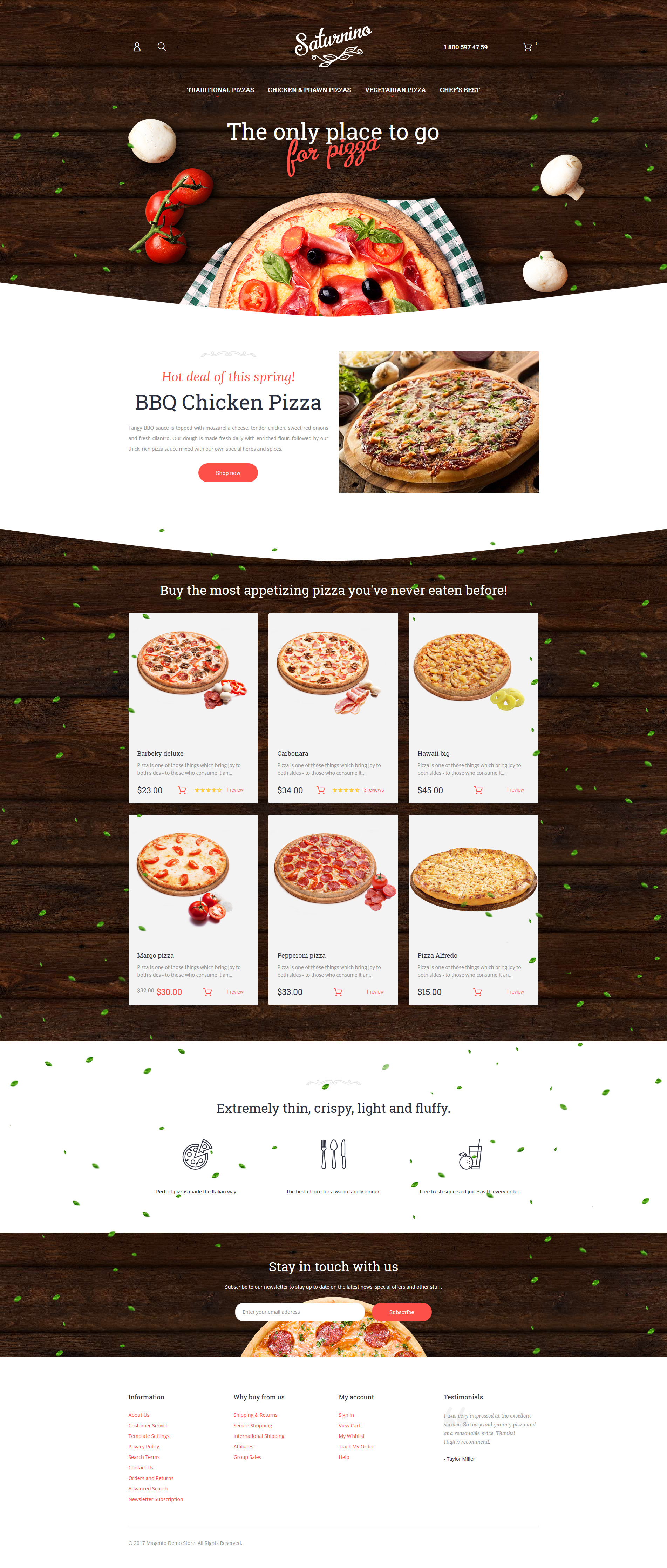 "Magento Theme namens ""Saturnino - Pizza Responsive"" #58961"