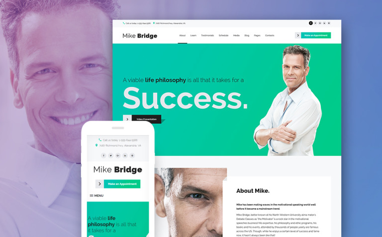 Mike Bridge - Motivational Coach WordPress Theme New Screenshots BIG