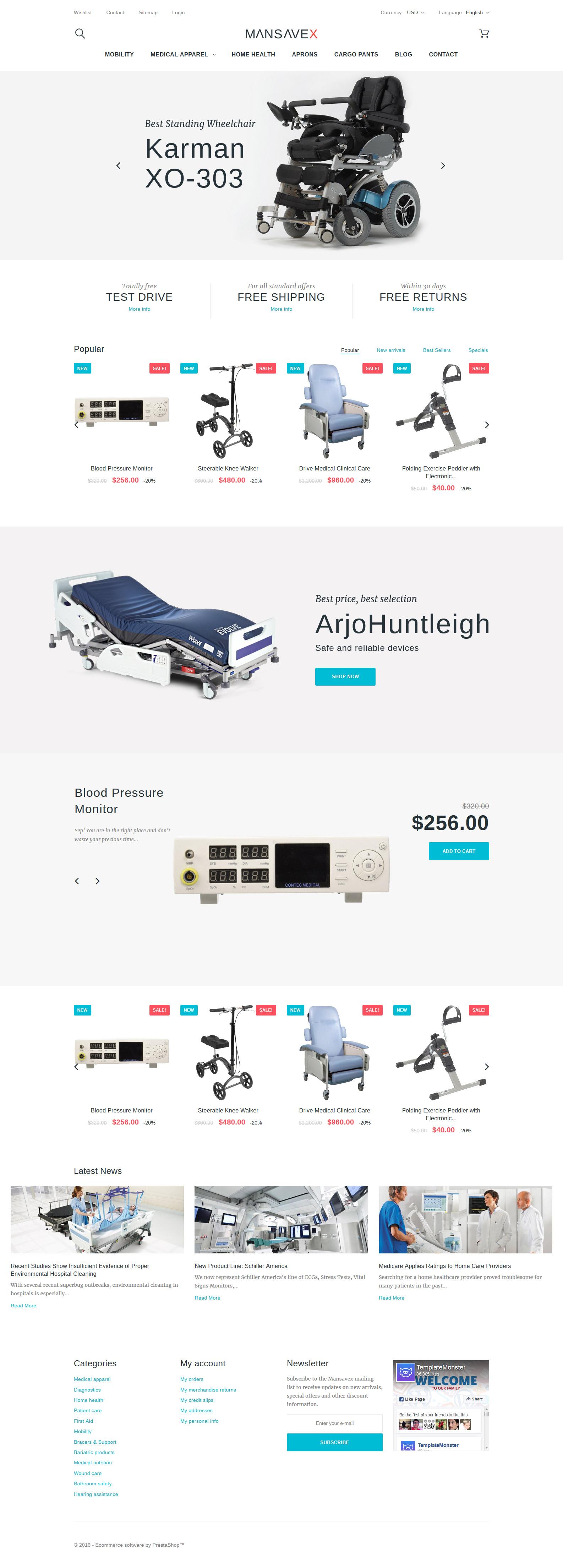 """Modello PrestaShop Responsive #58979 """"Mansavex - Medical Equipment"""""""