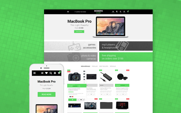 Modern Chip PrestaShop Theme New Screenshots BIG
