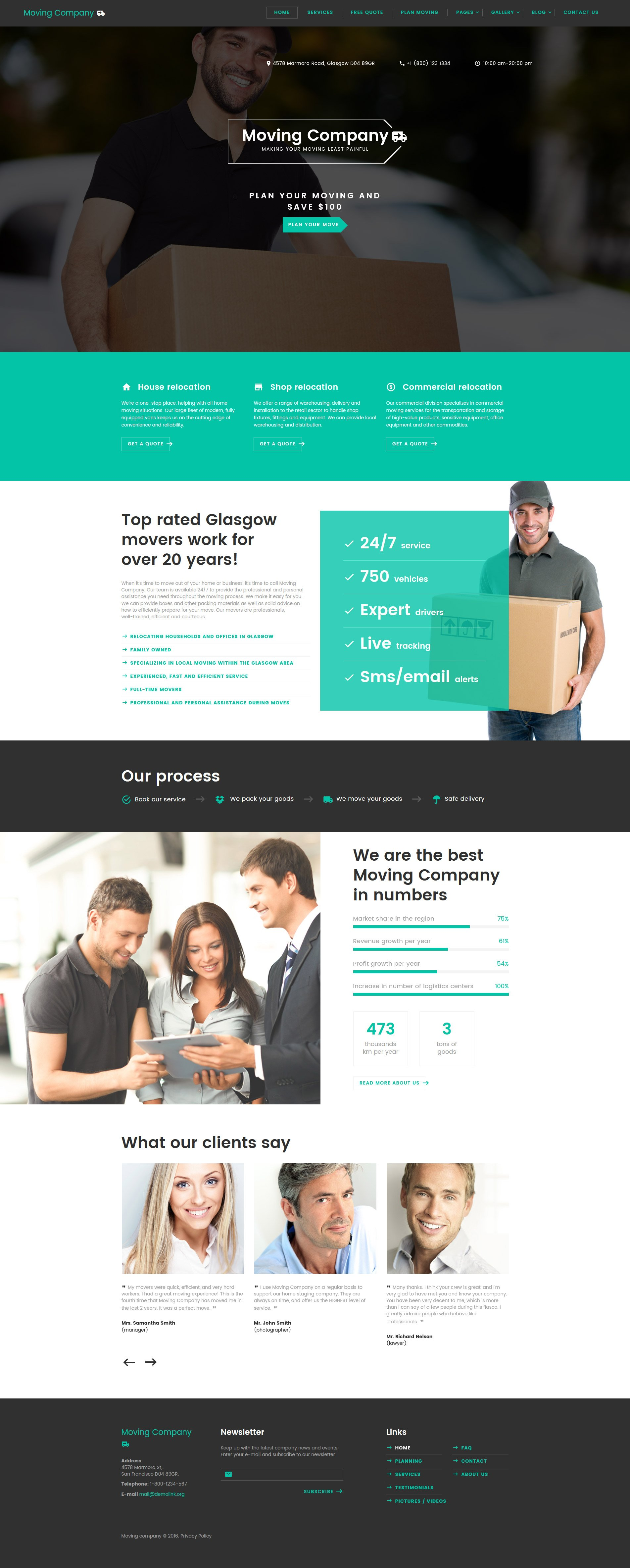 moving company responsive website template  58973