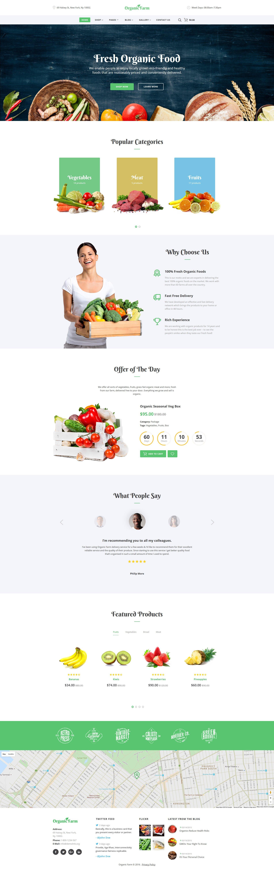 """Organic Farm -  Food & Drink Multipage Creative HTML Bootstrap"" modèle web adaptatif #58975"