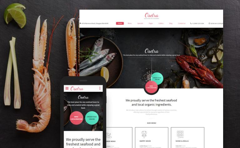 Plantilla Web #58974 para Sitio de Restaurantes de mariscos