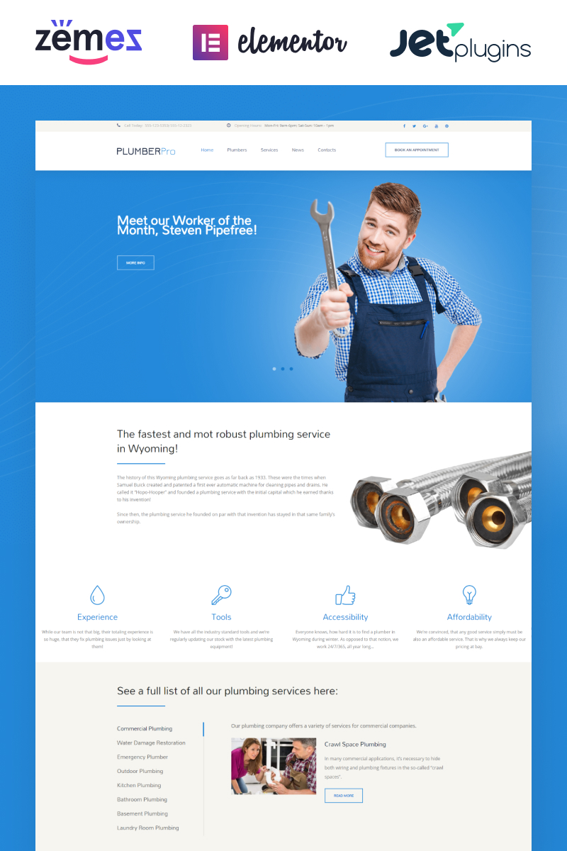 """Plumbing Services Responsive"" 响应式WordPress模板 #58990 - 截图"