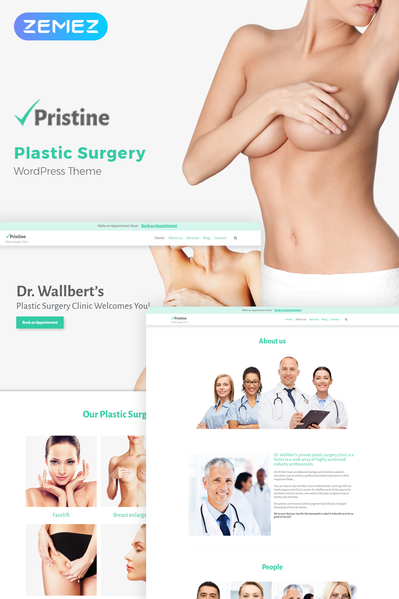 """Pristine - Plastic Surgery"" 响应式WordPress模板 #58987 - 截图"