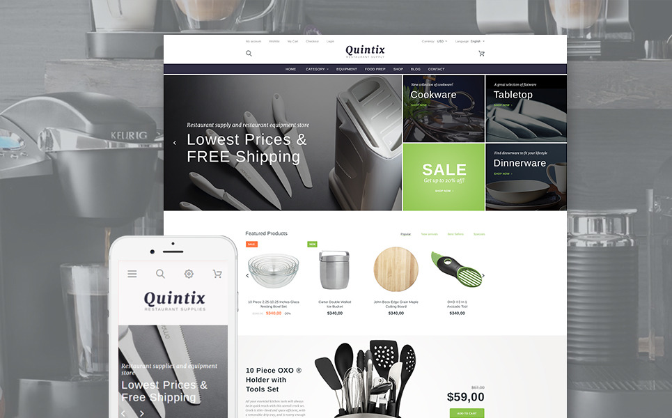 Quintix - Restaurant Supplies PrestaShop Theme New Screenshots BIG