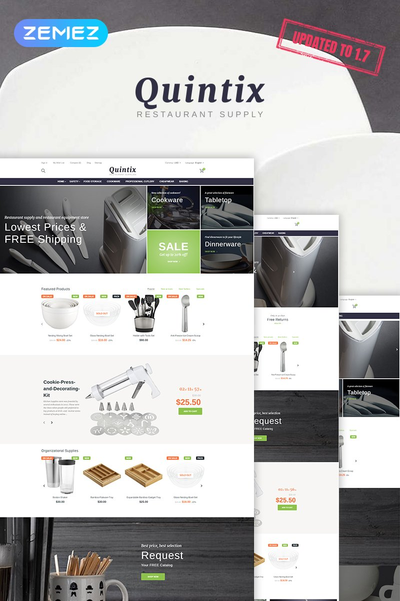 Quintix - Restaurant Supplies PrestaShop Theme