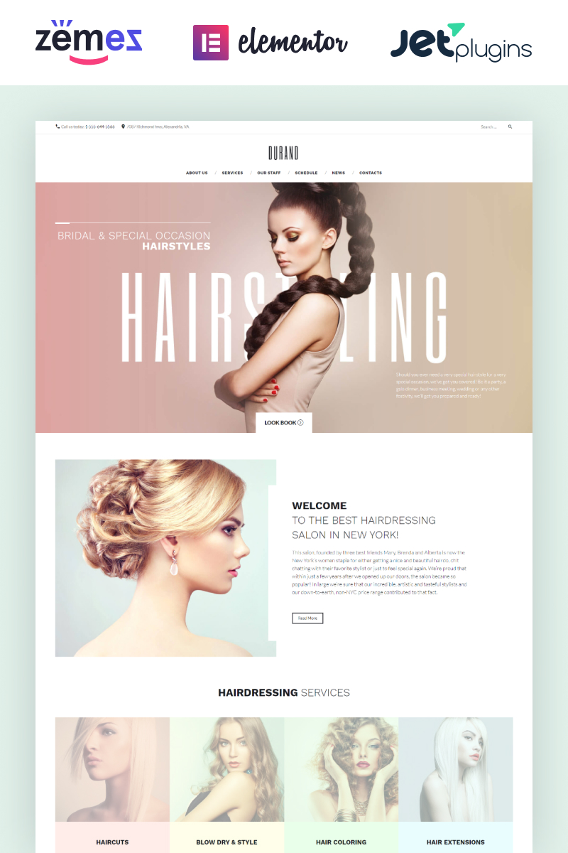 Responsive Durand - Beauty & Hair Salon Wordpress #58991