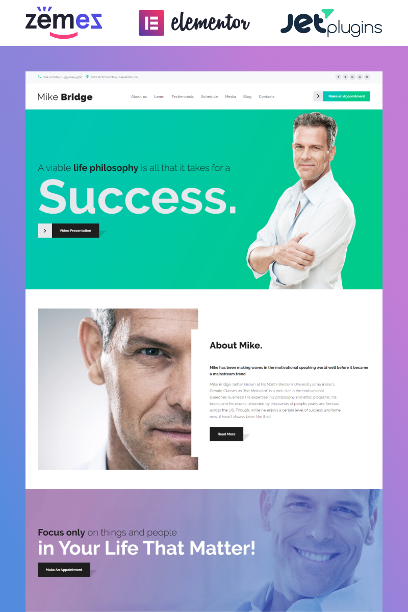 Responsive Mike Bridge - Motivational Coach Wordpress #58914