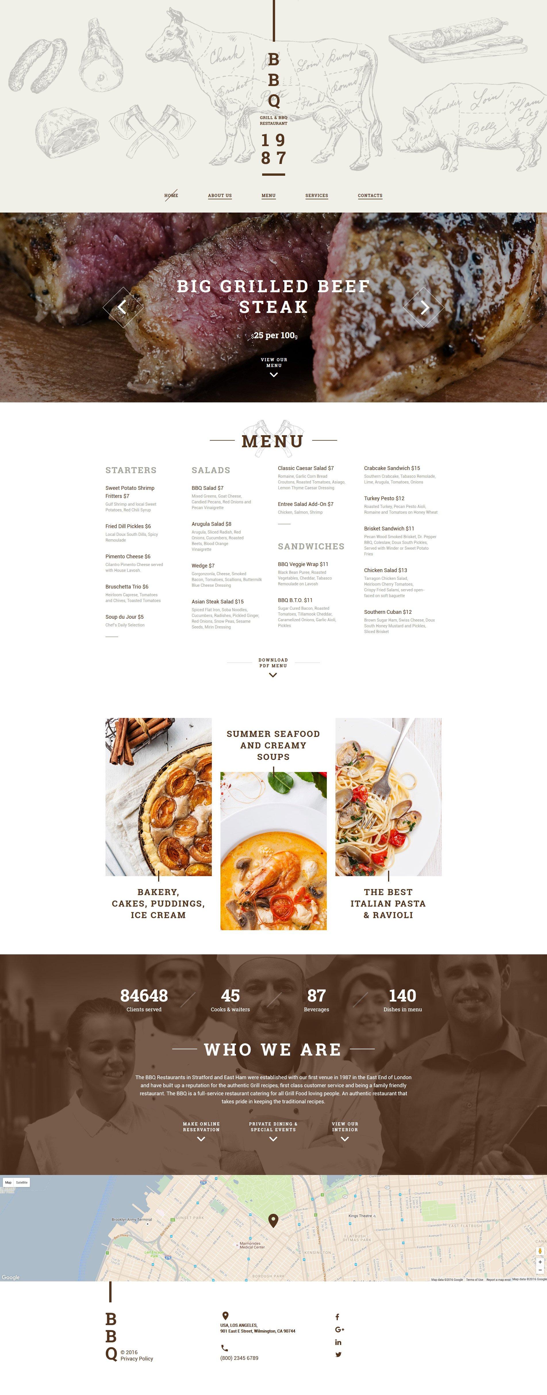 Responsive Website template over BBQ restaurant №58947