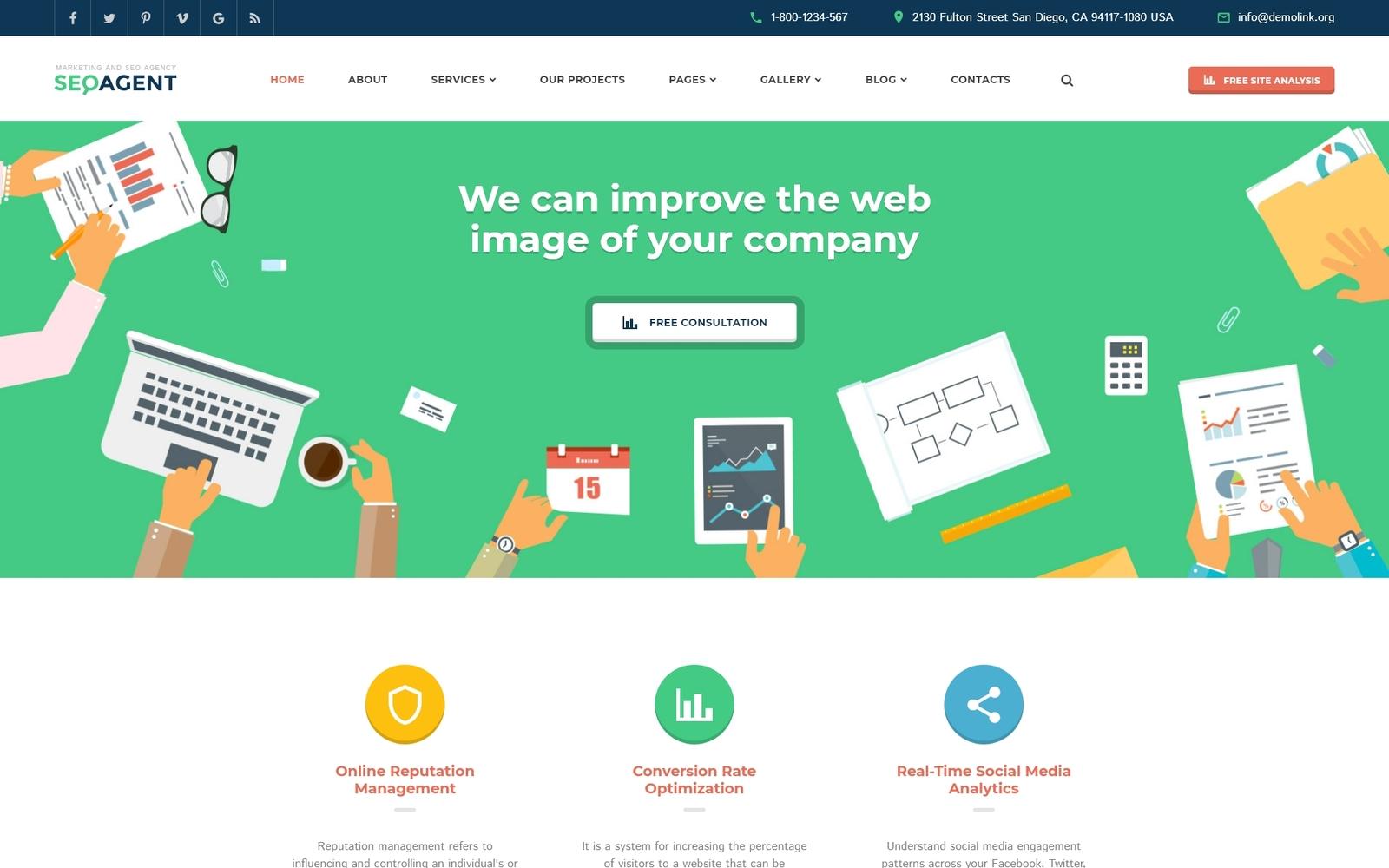 Responsive Website Vorlage für SEO Website #58985 - Screenshot