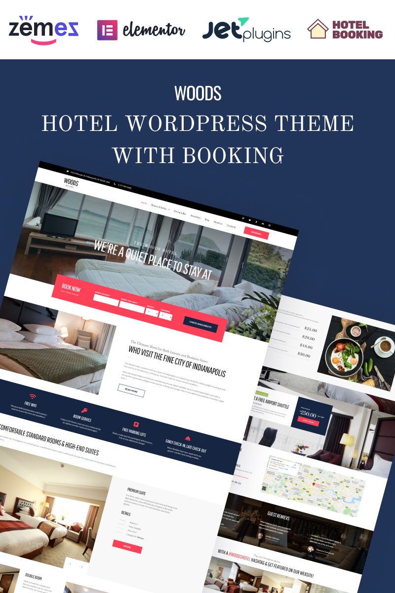 Responsivt Woods Hotel - Hotel & Resort WordPress-tema #58970