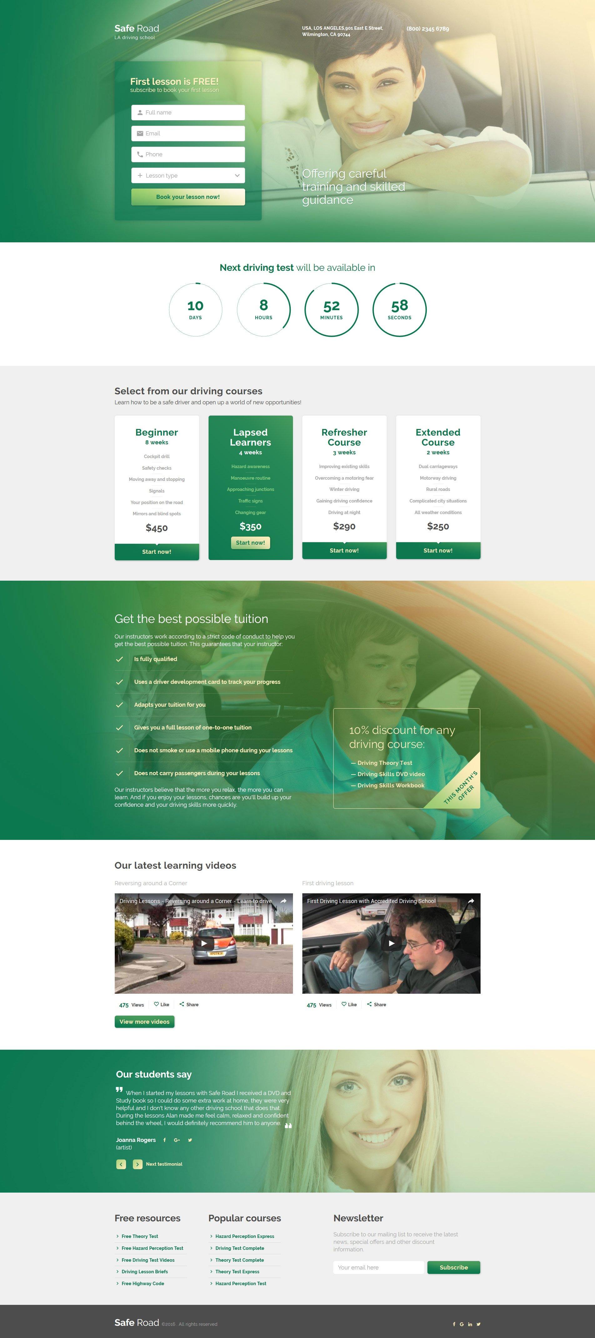 Responsywny szablon Landing Page #58963 na temat: szkoła jazdy