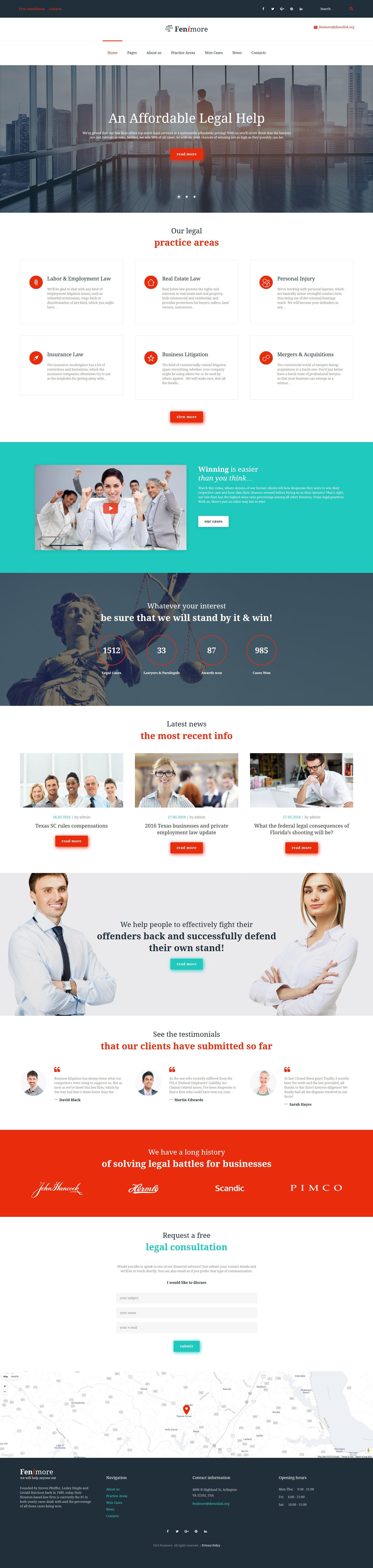 Reszponzív Fenimore - egy ügyvédi irodáknak létrehozott WordPress téma WordPress sablon 58958 - képernyőkép