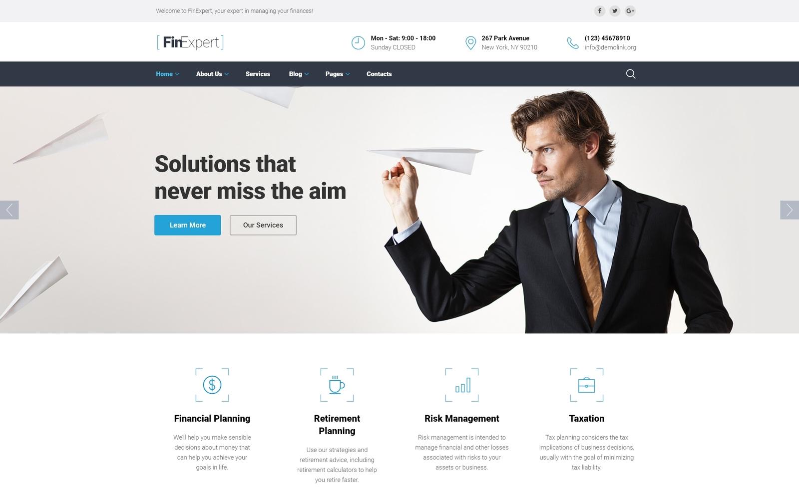 Reszponzív Financial Advisor Weboldal sablon 58940
