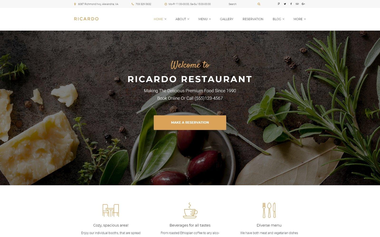 """Ricardo - Gourmet Restaurant Responsive"" thème WordPress adaptatif #58952"