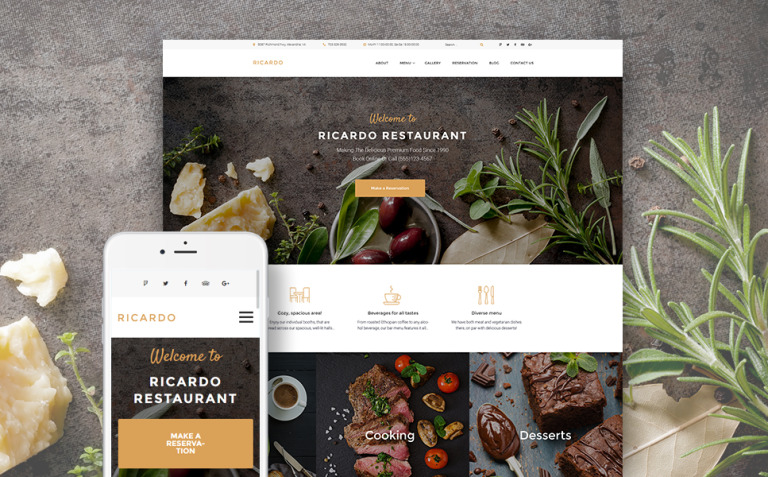 Ricardo - Gourmet Restaurant Responsive WordPress Theme New Screenshots BIG