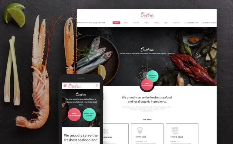 Seafood Restaurant Responsive Website Template New Screenshots BIG