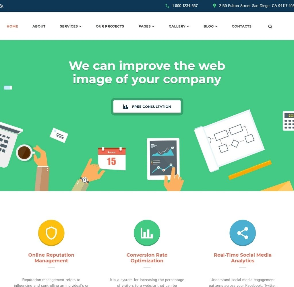 Live demo for SEO Website Responsive Website Template #58985