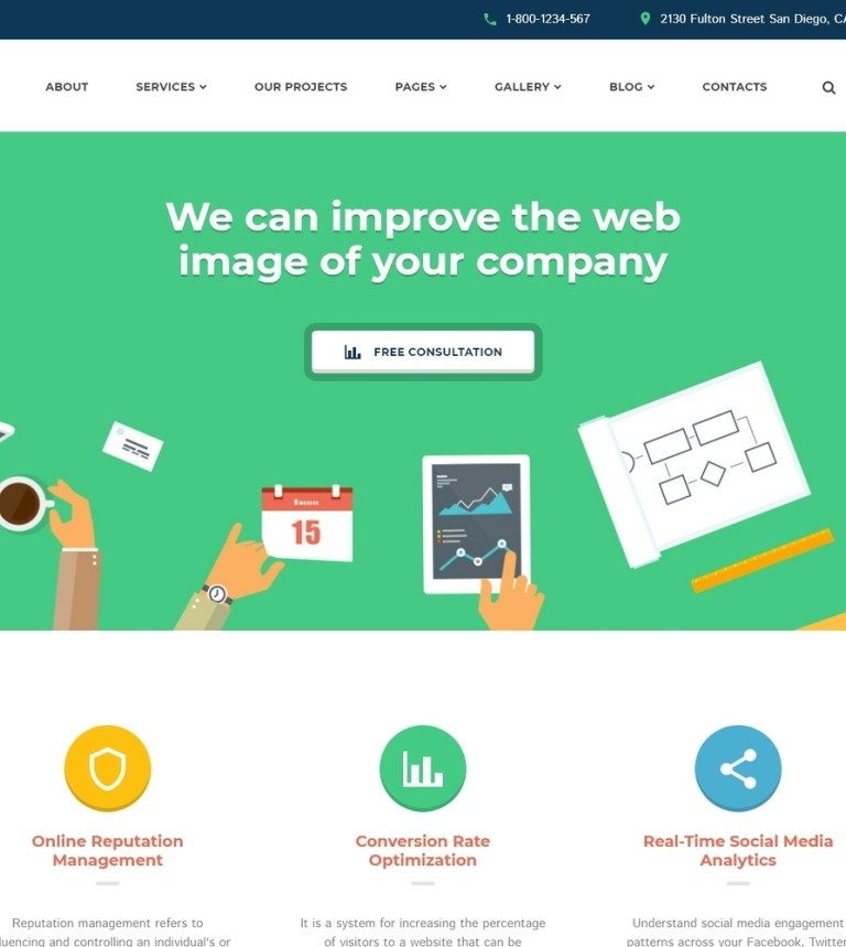 SEO Website Responsive Website Template #58985