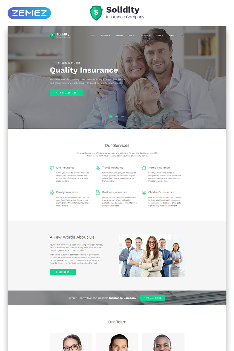 """""""Solidity - Insurance Multipage Clean HTML Bootstrap"""" 响应式网页模板 #58965 - 截图"""