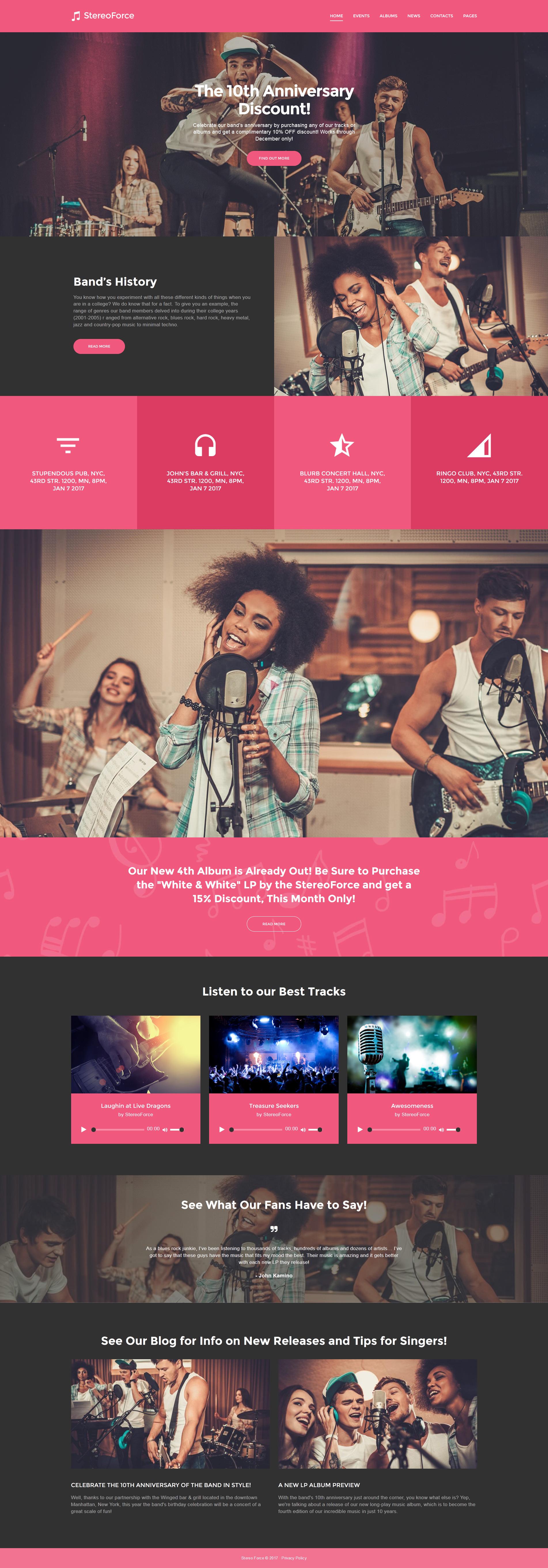 Tema De WordPress Responsive para Sitio de Grupos musicales #58988 - captura de pantalla