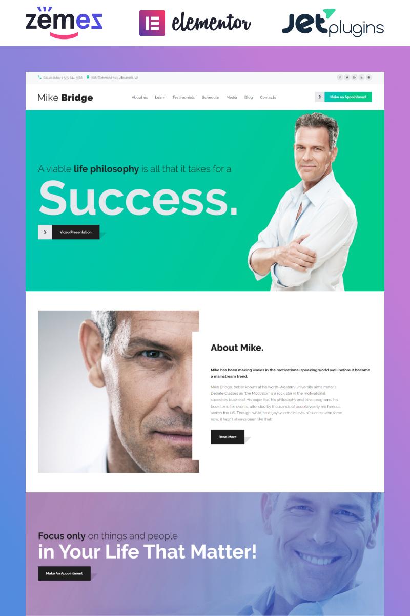 "Tema WordPress Responsive #58914 ""Mike Bridge - Motivational Coach"""