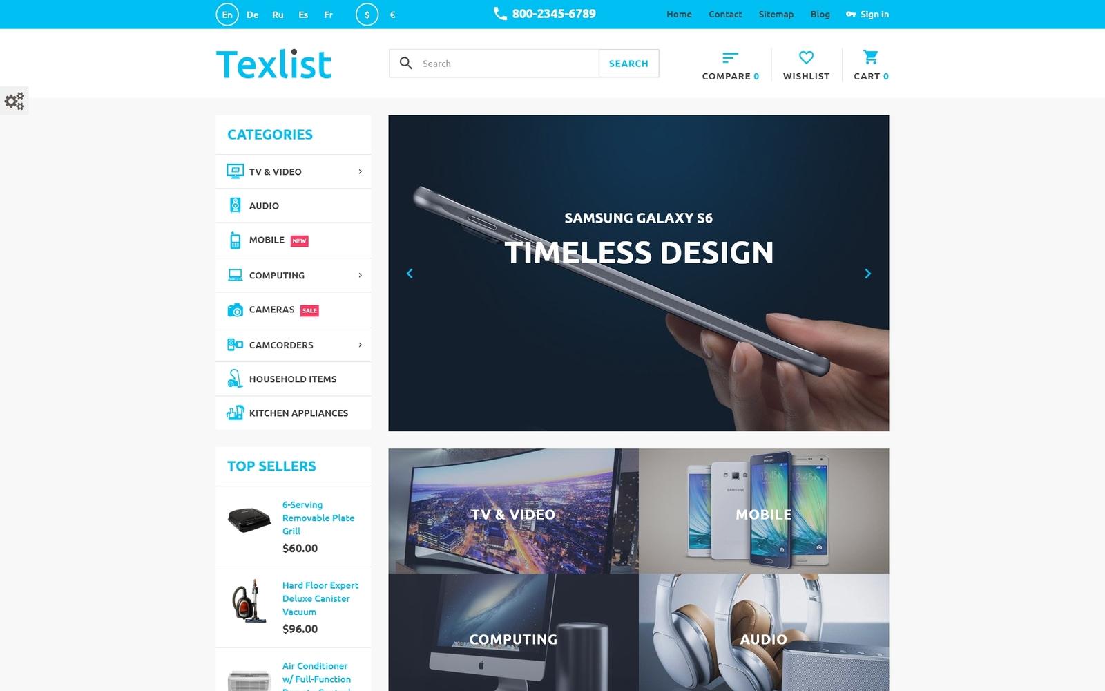 """Texlist"" - адаптивний PrestaShop шаблон №58930"