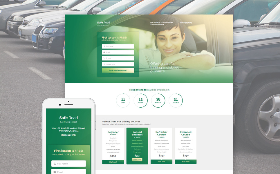 Traffic School Responsive Landing Page Template New Screenshots BIG
