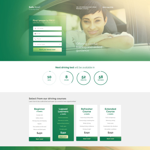 Safe Road - Responsive Landing Page Template