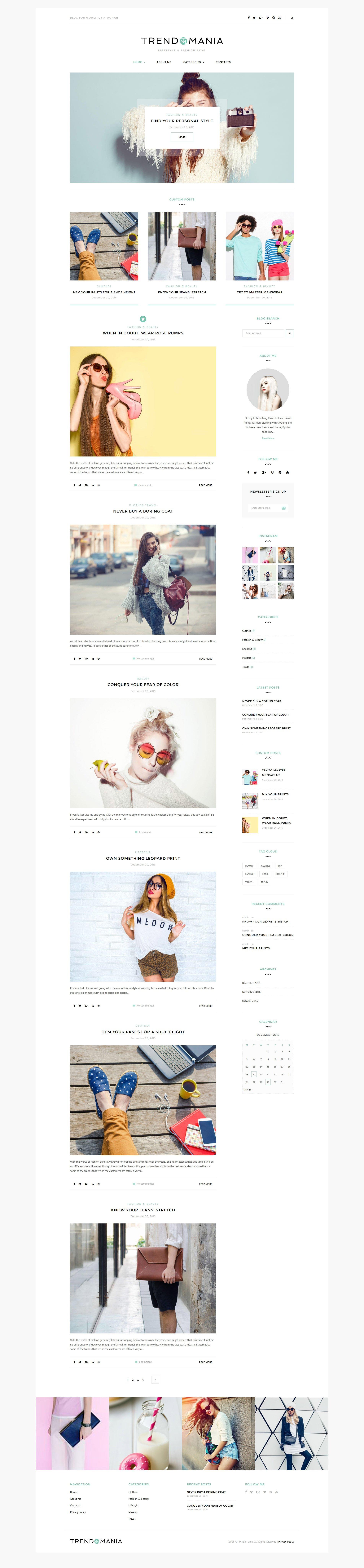 """""""Trendomania - Lifestyle & Fashion Blog"""" Responsive WordPress thema №58957"""